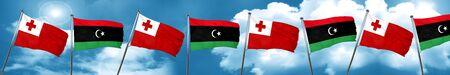tonga: Tonga flag with Libya flag, 3D rendering