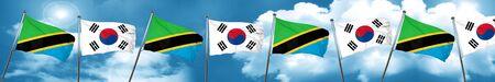 tanzania: Tanzanian flag with South Korea flag, 3D rendering