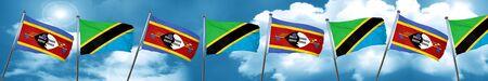 tanzania: Swaziland flag with Tanzania flag, 3D rendering