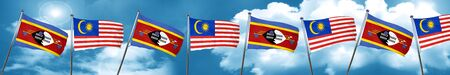 Swaziland flag with Malaysia flag, 3D rendering