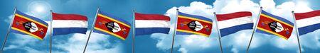 Swaziland flag with Netherlands flag, 3D rendering