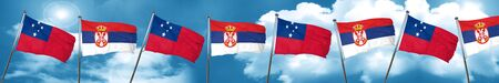 Samoa flag with Serbia flag, 3D rendering