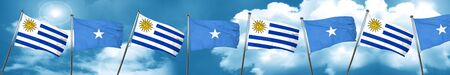 Uruguay flag with Somalia flag, 3D rendering Stock Photo