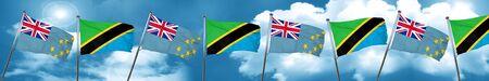 tuvalu: Tuvalu flag with Tanzania flag, 3D rendering