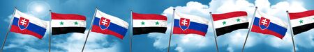 Slovakia flag with Syria flag, 3D rendering Stock Photo