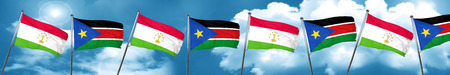 Tajikistan flag with South Sudan flag, 3D rendering Stock Photo