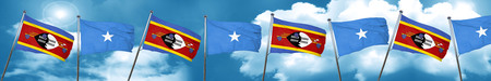 somalia: Swaziland flag with Somalia flag, 3D rendering