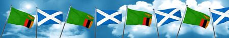 scottish culture: Zambia flag with Scotland flag, 3D rendering