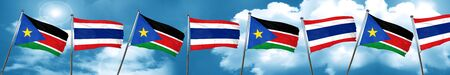 south sudan flag with Thailand flag, 3D rendering Stock Photo
