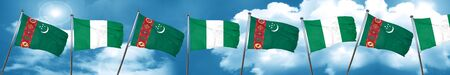 country nigeria: Turkmenistan flag with Nigeria flag, 3D rendering