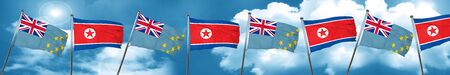 Tuvalu flag with North Korea flag, 3D rendering Stock Photo