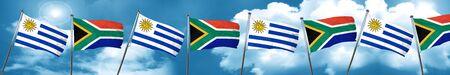 bandera de uruguay: Uruguay flag with South Africa flag, 3D rendering Foto de archivo