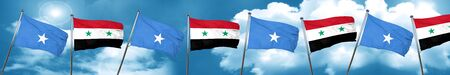Somalia flag with Syria flag, 3D rendering