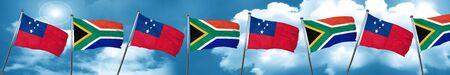 samoa: Samoa flag with South Africa flag, 3D rendering Stock Photo