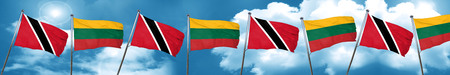 Trinidad and tobago flag with Lithuania flag, 3D rendering