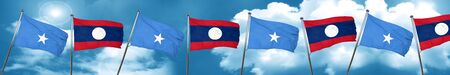 Somalia flag with Laos flag, 3D rendering