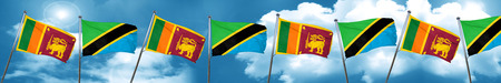Sri lanka flag with Tanzania flag, 3D rendering Stock Photo
