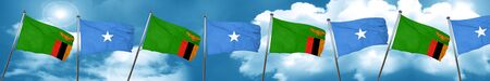 Zambia flag with Somalia flag, 3D rendering Stock Photo