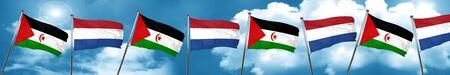 Western sahara flag with Netherlands flag, 3D rendering