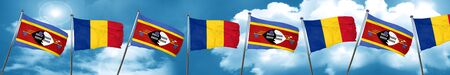 Swaziland flag with Romania flag, 3D rendering