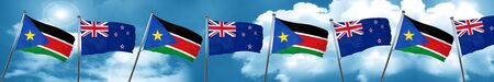 south sudan flag with New Zealand flag, 3D rendering Stock Photo
