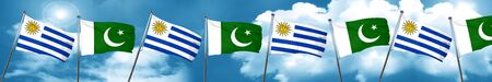 bandera de uruguay: Bandera de Uruguay con la bandera de Pakistán, representación 3D
