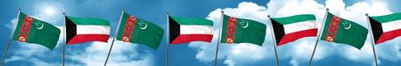 Turkmenistan flag with Kuwait flag, 3D rendering