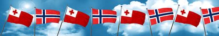 Tonga flag with Norway flag, 3D rendering