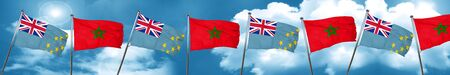 tuvalu: Tuvalu flag with Morocco flag, 3D rendering Stock Photo