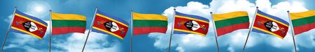 lithuania: Swaziland flag with Lithuania flag, 3D rendering Stock Photo