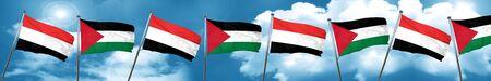 yemen: Yemen flag with Palestine flag, 3D rendering