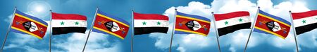 Swaziland flag with Syria flag, 3D rendering