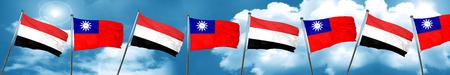 yemen: Yemen flag with Taiwan flag, 3D rendering