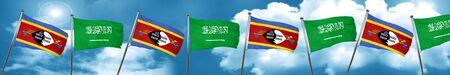 Swaziland flag with Saudi Arabia flag, 3D rendering
