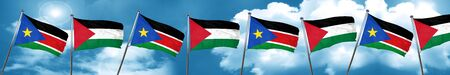 south sudan flag with Palestine flag, 3D rendering
