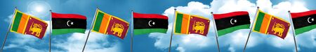 Sri lanka flag with Libya flag, 3D rendering