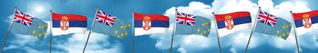Tuvalu flag with Serbia flag, 3D rendering