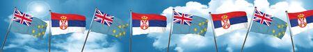 serbia: Tuvalu flag with Serbia flag, 3D rendering