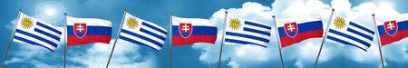 bandera de uruguay: Uruguay flag with Slovakia flag, 3D rendering