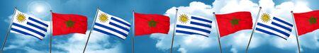 bandera de uruguay: Bandera de Uruguay con la bandera de Marruecos, representación 3D Foto de archivo