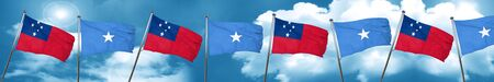 Samoa flag with Somalia flag, 3D rendering