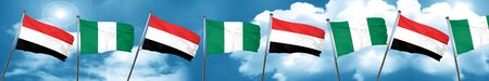 yemen: Yemen flag with Nigeria flag, 3D rendering