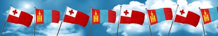Tonga flag with Mongolia flag, 3D rendering Foto de archivo