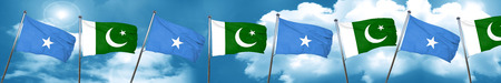somalia: Somalia flag with Pakistan flag, 3D rendering