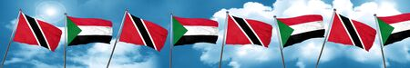 Trinidad and tobago flag with Sudan flag, 3D rendering