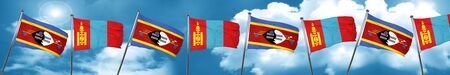Swaziland flag with Mongolia flag, 3D rendering