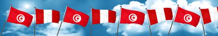 Tunesia flag with Peru flag, 3D rendering Stock Photo