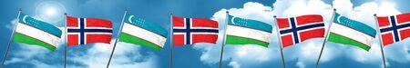 Uzbekistan flag with Norway flag, 3D rendering