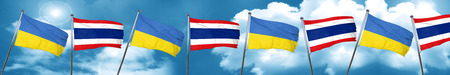 Ukraine flag with Thailand flag, 3D rendering Stock Photo