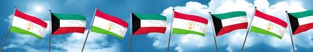 Tajikistan flag with Kuwait flag, 3D rendering